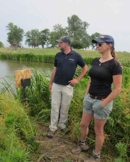 pair of engineers stand next to wetland